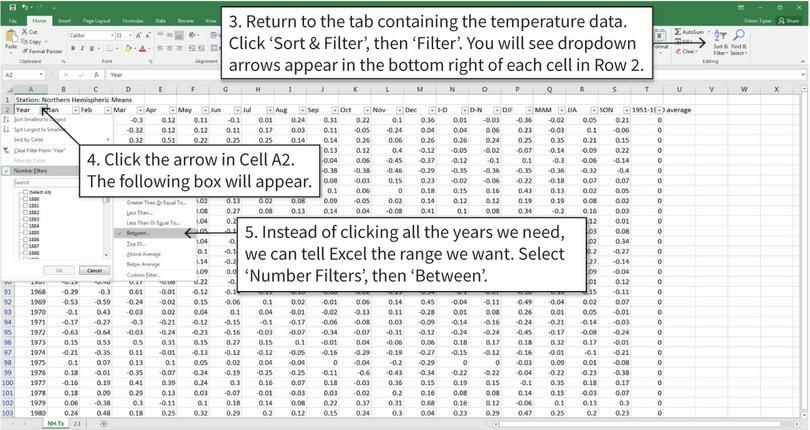 Filter the data : It is easier to make a frequency table if you have filtered the data to show only the values you need for the table (the years 1951–1980 in this case).