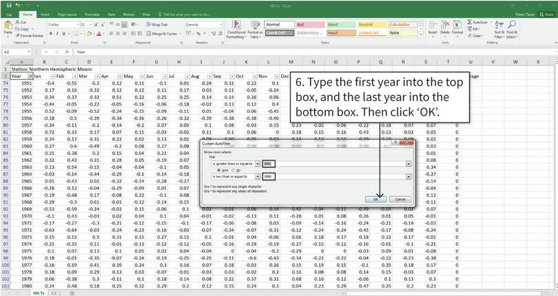 Use the FREQUENCY function to fill in the rest of the table : After completing step 6, only the data for the selected years is shown in the spreadsheet. Data for the other years is still there, but it's hidden.