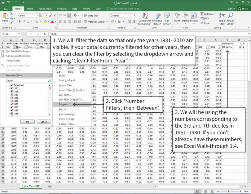 Filter the data, keeping the years 1981–2010 : We will be using the years 1981–2010 only. To make the data easier to view, we will filter the data so that only the years 1981–2010 are visible.