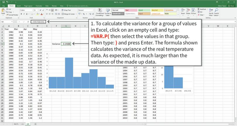 Calculating and interpreting the variance : The variance is a measure of how spread out the data is. Just looking at the charts, we would expect the real temperature data to have a higher variance than the made up data. Note: There is a similar function in Excel called VAR.S, which is used to calculate the variance for other types of data. For this temperature data though, we will use VAR.P.