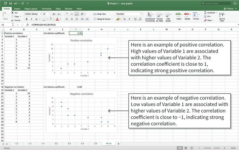 Calculate and interpret the correlation coefficient : Here are some more examples of correlation coefficients and how to interpret them. Note: There is no strict definition for what a 'strong' or 'weak' correlation is. Generally, a coefficient of 0.7 to 1 (or −0.7 to −1) is considered 'strong' and a coefficient of 0 to 0.3 (0 to −0.3) is considered 'weak'. Any coefficient outside this range is generally considered 'moderate'.