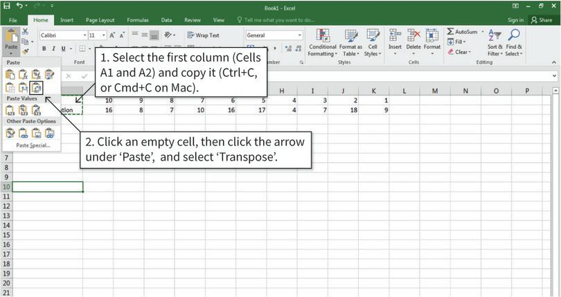 Copy and paste table headings : First, the table headings need to be copied and pasted so that they occupy one row, rather than one column.