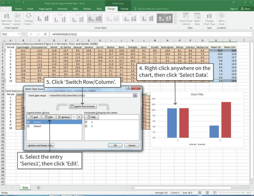 Change horizontal and vertical axis variables, and change legend labels : After completing step 6, the chart will now look like this, with the data for Period 1 grouped together, and the data for Period 10 grouped together.