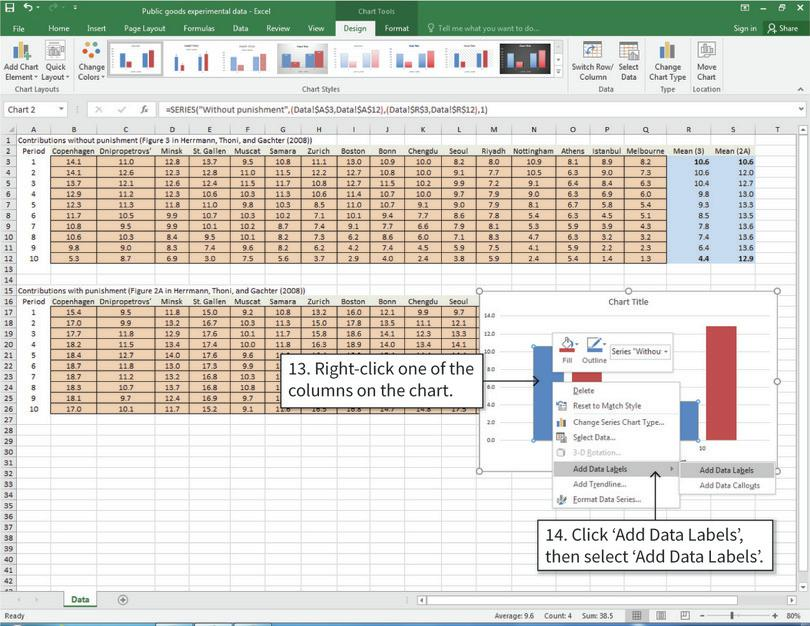 Add data labels on top of the columns : After completing step 14, numbers showing the height of the column will appear on top of the columns selected.