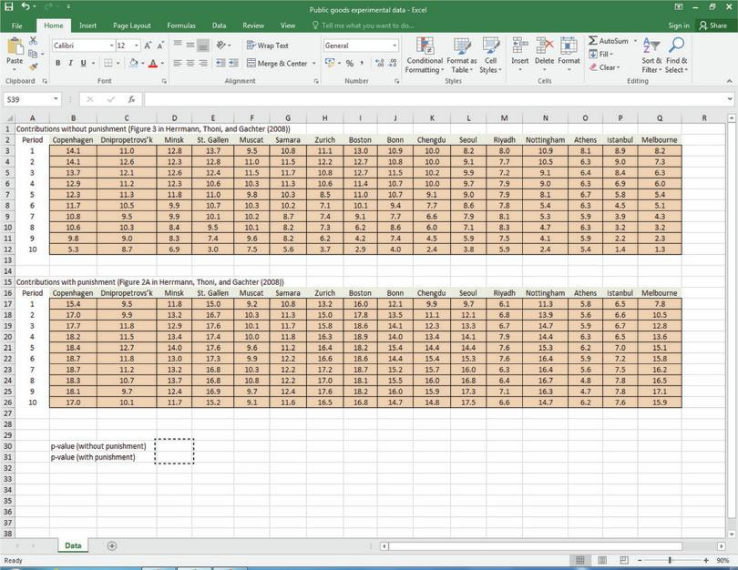 How to use Excel's T.TEST function.