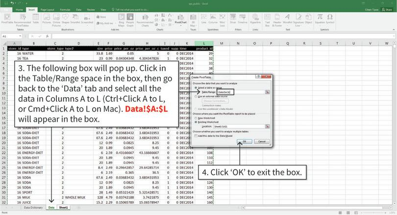 Insert a blank pivot table : Now we have to tell Excel which data to use to make the table.