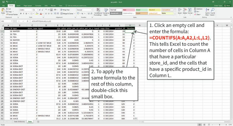 Count the number of times each product appears in the dataset : We only want to look at products that were present in all time periods, to ensure we are comparing the same group of products over time. We will create a new variable (called 'Number', shown in Column M) that shows how many periods of data are available for each product. Excel's COUNTIFS function will help us count the number of observations that satisfy certain conditions.