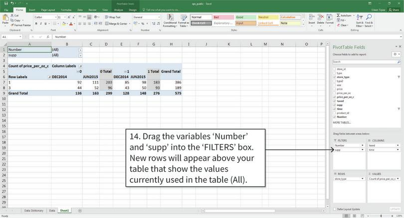 Filter the values inside the table : Now we tell Excel to only include products that are available in all time periods (Number = 3), and non-supplementary products (supp = 0).