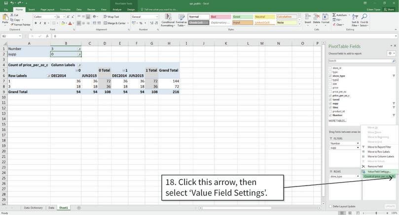 Change the values inside the table to means : Now we change the values shown in the table from frequencies to means.