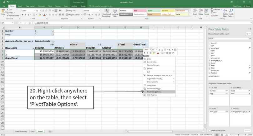 Remove the 'Grand total' rows and columns : By default, the PivotTable will have a column showing the mean for each row (for example, the mean for store type 1 in both DEC2014 and JUN2015. We will remove these columns to make our table easier to read.