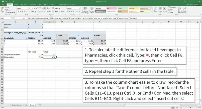 Create a table showing differences in means : Fill in the table by using cell formula to calculate the differences required. After step 2, your table will look like the one shown above.