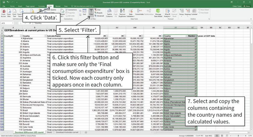 Filter the data : After step 7, the data will be filtered so there is only one number for each country. Your table is ready to copy and paste into a new tab.