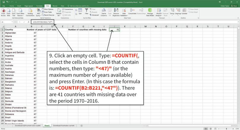 Count the number of countries with missing data : To count the number of countries with missing data, use the COUNTIF function. Excel will count the number of cells in a given selection that meet the specified criteria.