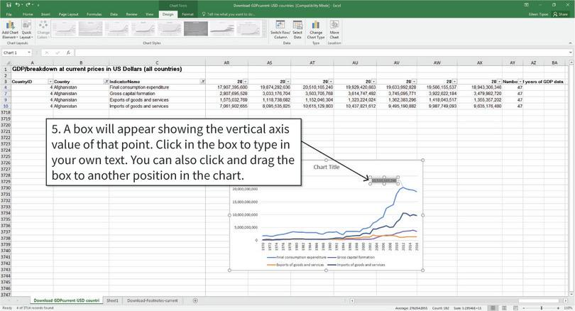 Change the text in the label and reposition the label : By default, Excel will label data points with the horizontal axis and vertical axis values. You can change the label to text by clicking and typing into the box.