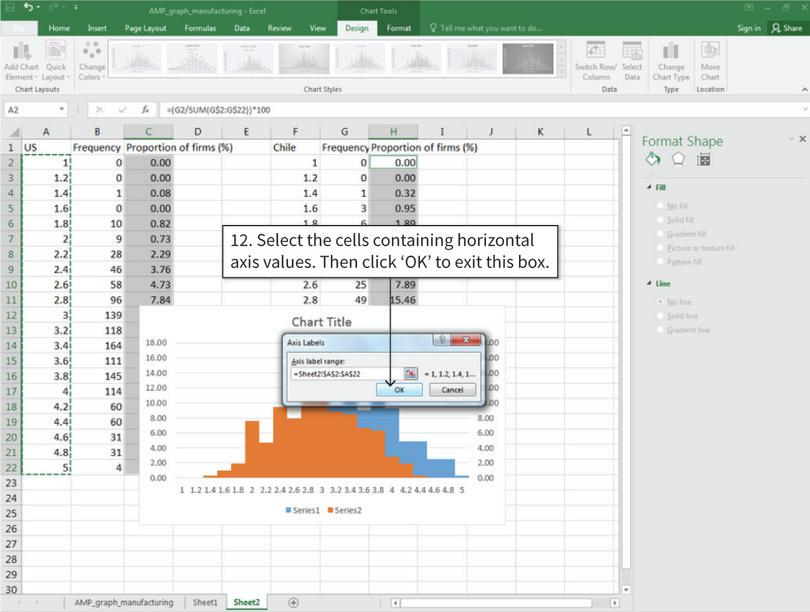 Change the horizontal axis values and series names : After step 12, the horizontal axis value for the selected columns will change.