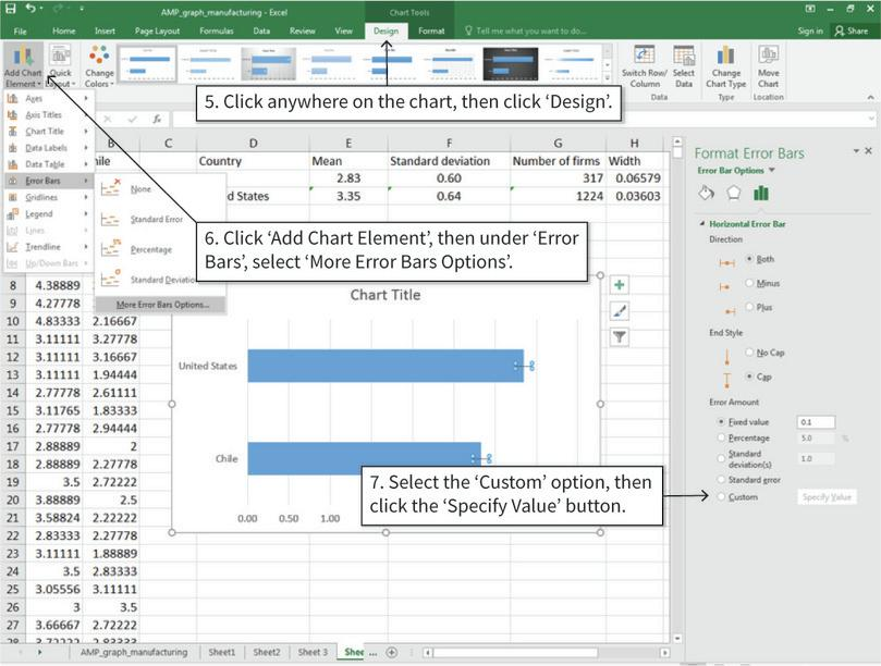 Add error bars to the chart : Confidence intervals are in 'error bars' option in Excel. We will use the calculated width values from step 1 to determine the size of the error bars.