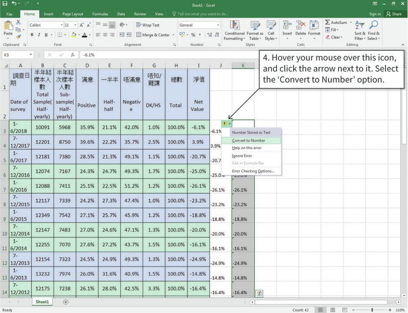 Convert text to numbers : Now Excel will recognize that numbers are stored as text, and will give you the option to convert them to numbers.
