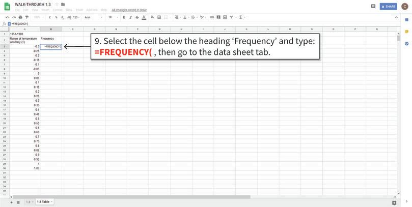 Use the FREQUENCY function to fill in the rest of the table : Now that the data is filtered, we will use Google Sheets' FREQUENCY function to fill in Column B. First, select the cells that need to be filled in.
