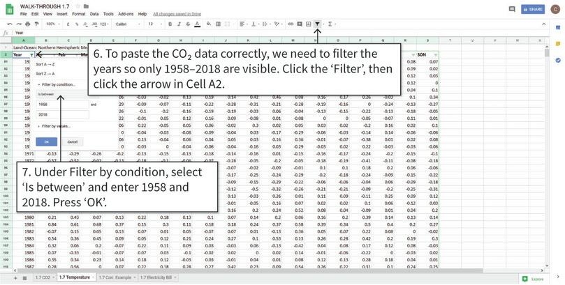 Filter the temperature data to correspond to the years present in the CO2 data : The values in Column A (years) need to match with the years available in the CO2 data. We will filter the data so that temperature data is only visible for the years that CO2 data is available.