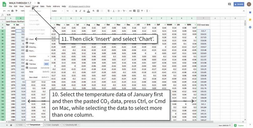 Draw a scatterplot for temperature anomaly and CO2 level : Select the data that will be used, and open the chart editor.