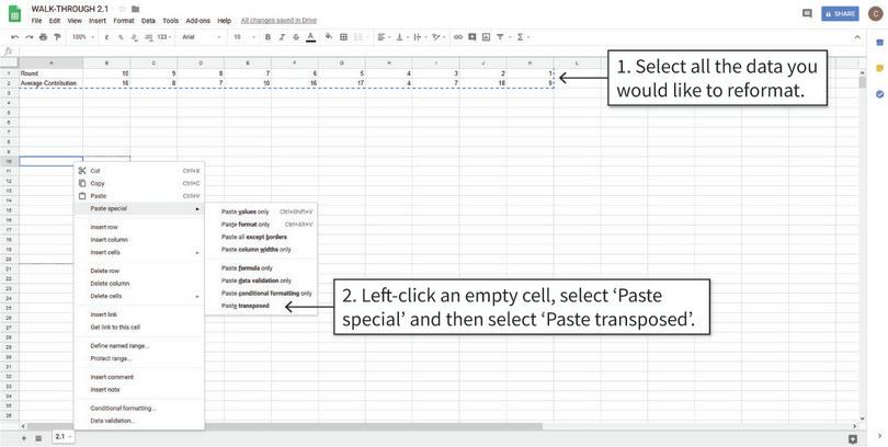 Copy and paste the transposed table : The transpose option switches the rows and columns of the table, so the first column becomes the first row and so on.