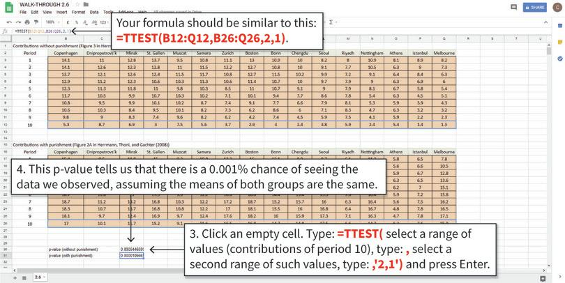 Calculate the p-value for Period 10 data : Follow these steps to calculate the p-value for Period 10 (the cells in the dotted boxes). The only difference from the previous formula (for Period 1) is the data selected.