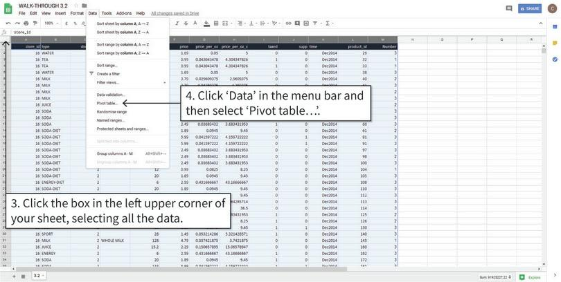 Insert a blank pivot table : We will make and store the frequency table in a new tab in the spreadsheet.