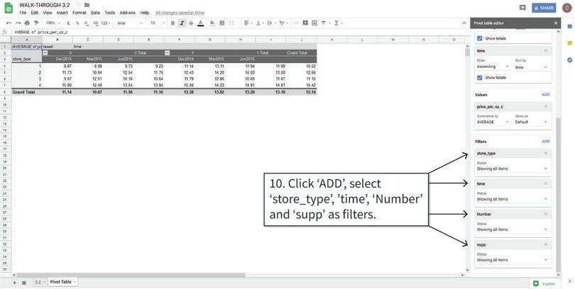 Filter the values inside the table : We will filter the data according to the values of 'store_type', 'time', 'Number' and 'supp'.