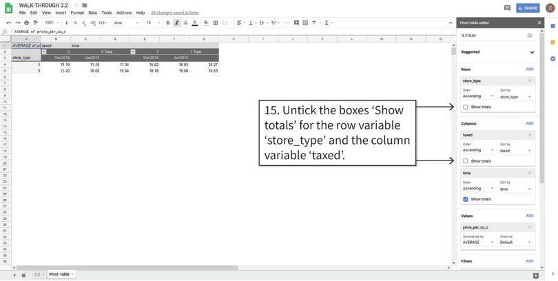 Remove the grand total row and column : After step 15, your table should look like the one above.