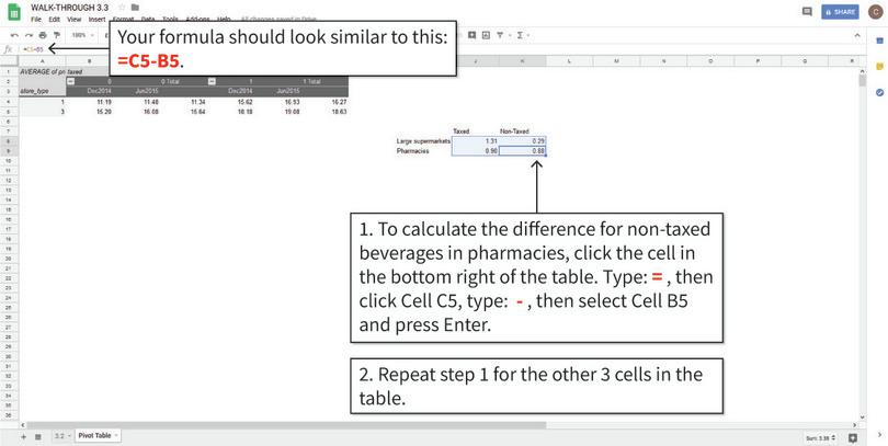 Create a table showing differences in means : Fill in the table by using cell formulas to calculate the differences required. After step 2, your table will look like the one shown above.