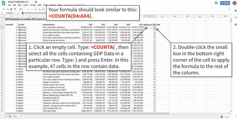 Count the years of data available in each row : We will first count the number of years of data available using the COUNTA function, which tells us how many cells in a given selection are non-empty (i.e. have data). We will store this information in Column AY, as shown. Note: The numbers you get may be slightly different if you are using the latest data.