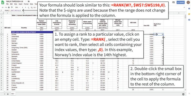Rank the index values from largest to smallest : We will rank the values of our own index from largest to smallest, and store this information in Column X.