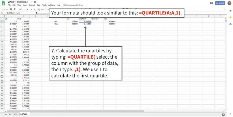 Calculate the values needed for the box and whisker plots : The QUARTILE function finds the value corresponding to the specified quartile.