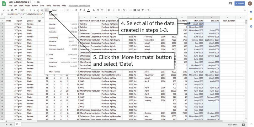 Reformat the cells as date variables : After step 5, you may not notice any visible changes to the text in cells, but Google Sheets now recognizes them as dates and you can use them to make calculations, such as counting the number of days between two dates.