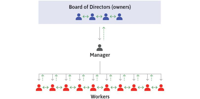 Flows of information : The green arrows represent flows of information. The upward green arrows are dashed lines because workers often know things that managers do not, and managers often know things that owners do not.