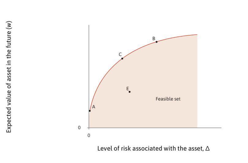 The feasible set : Points A, B, C, and E represent combinations of risk and expected return associated with different assets that Ayesha can buy. The shaded area represents the feasible set of combinations of risk and expected return.