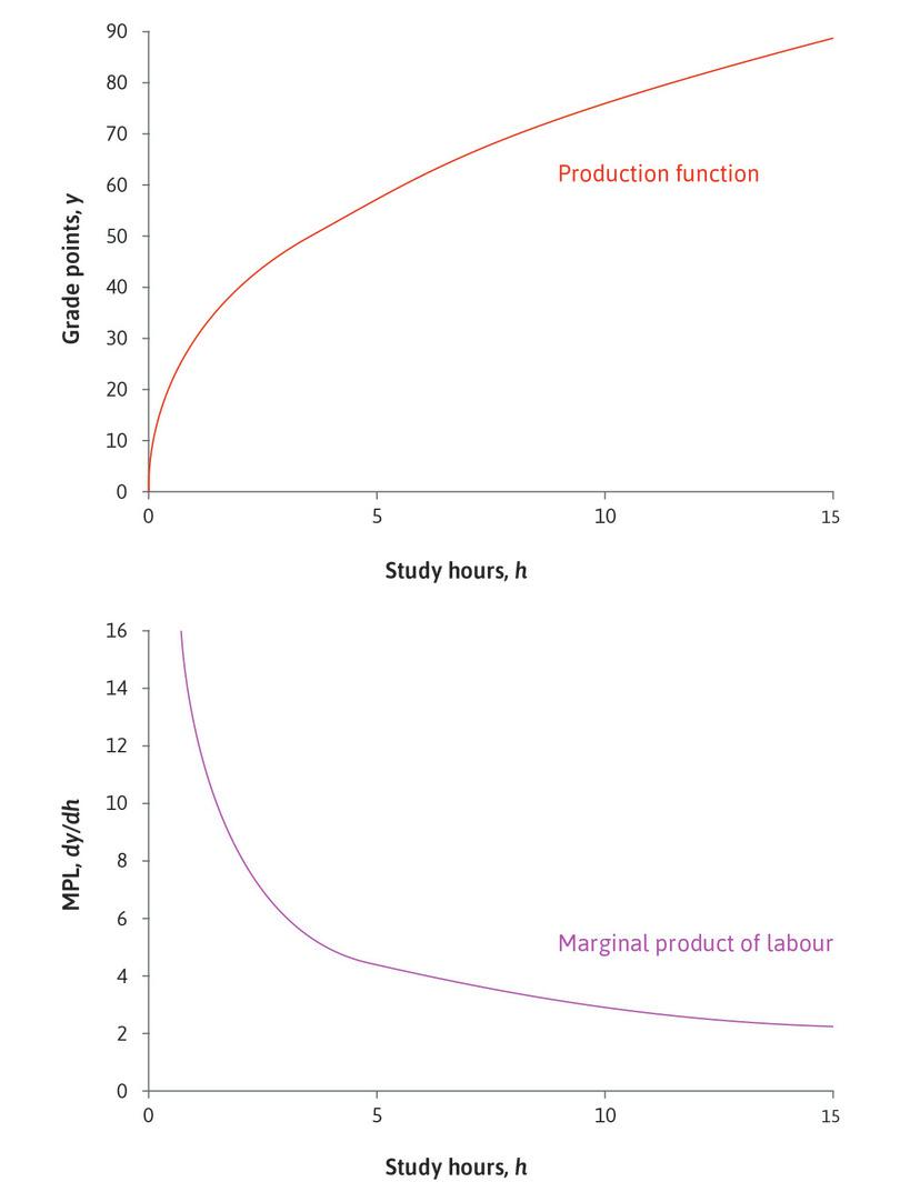 The production function y = 30h0.4 and the corresponding marginal product.