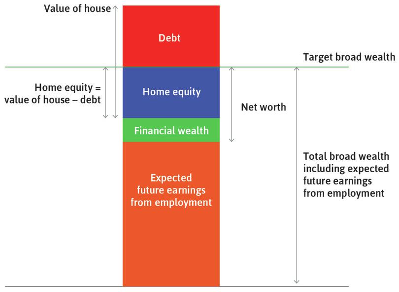 Target wealth : For the household shown in the figure, expected broad wealth (orange + green + blue) is equal to target wealth.