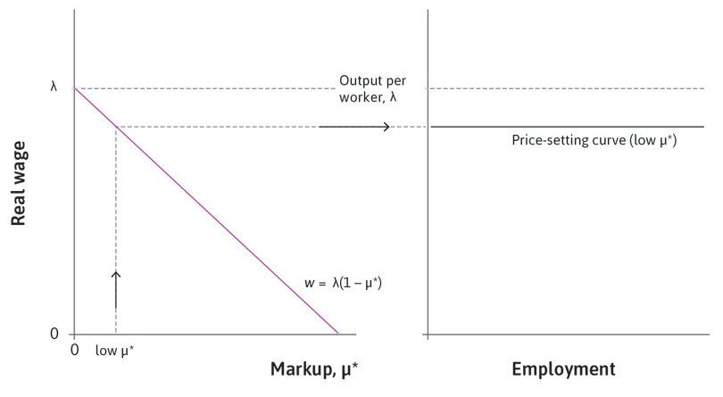 A low markup: A low long-run equilibrium markup is associated with a higher long-run price-setting curve.