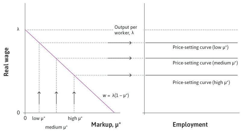 A high markup : Long-run price-setting curves are lower for higher markups.