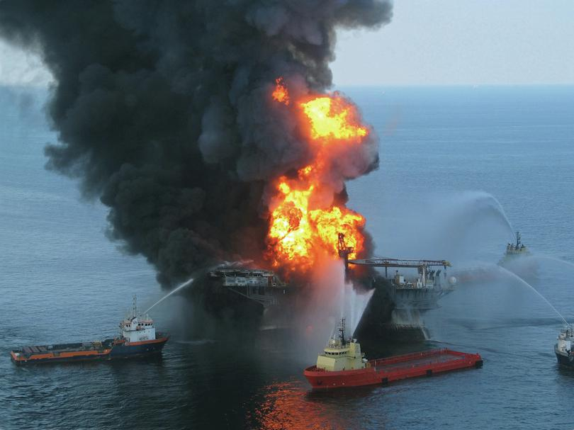 Offshore oil rig on fire: Courtesy of US Coastguard